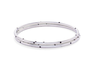 Sterling Silver Round Wire Bangle with Dots