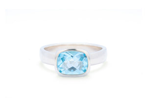 Sky Blue Topaz Antique Cushion Ring