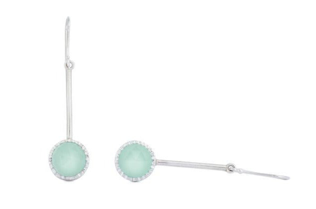 Lollipop drops with rose cut aqua chalcedony
