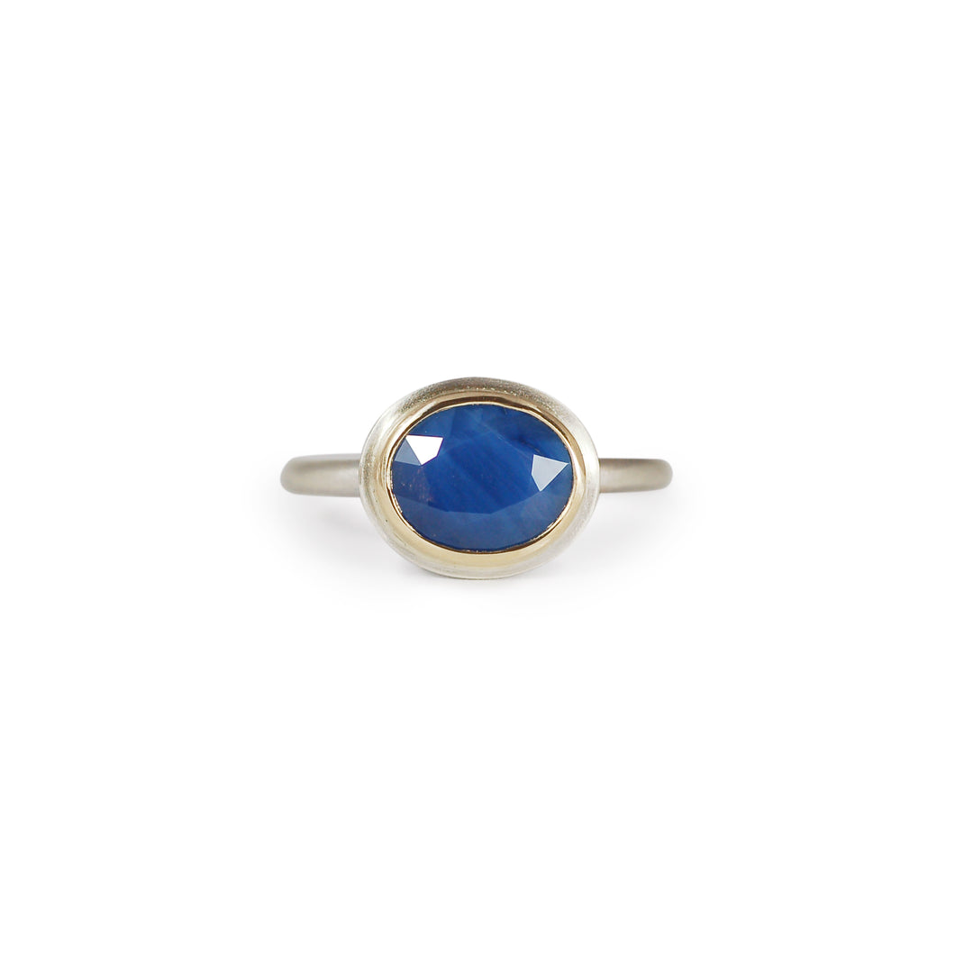 Oval Rose Cut Sapphire Ring