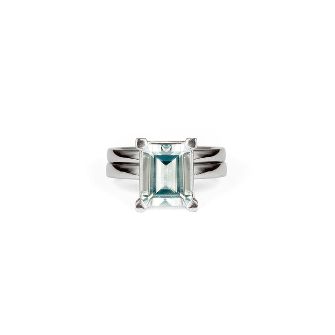 Emerald Cut Aquamarine Set in Platinum