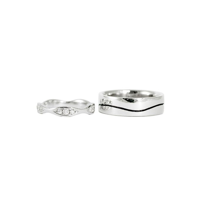 Wave Wedding Band Set