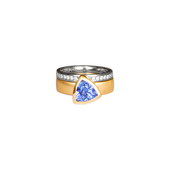 Tanzanite Trillion with Diamond Pavé Band