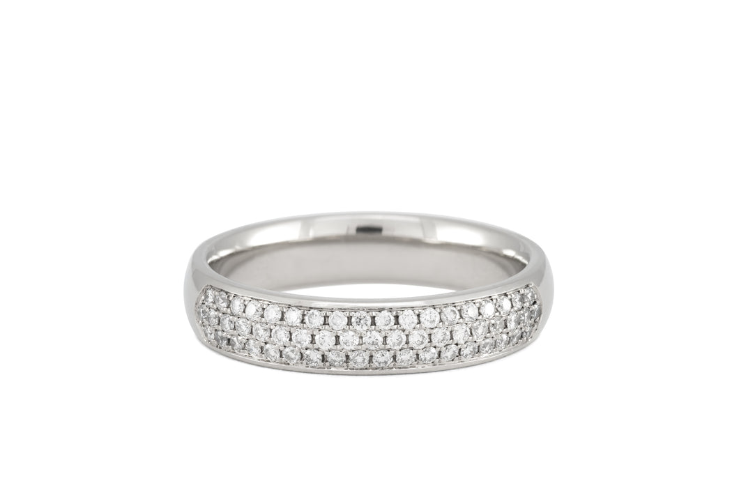 Three-row Diamond Pavé Ring