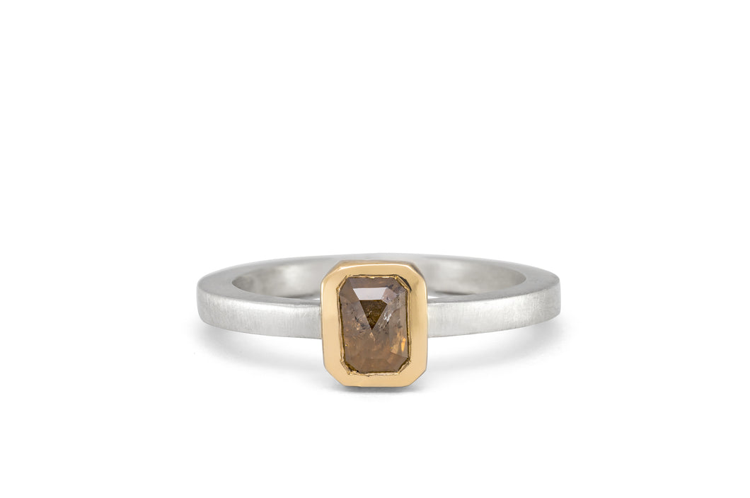 Rectangular Rough Cut Diamond Ring