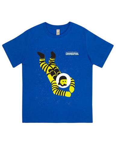 Camp Bestival 2016 'Astronaut Diving' Kids Blue T Shirt