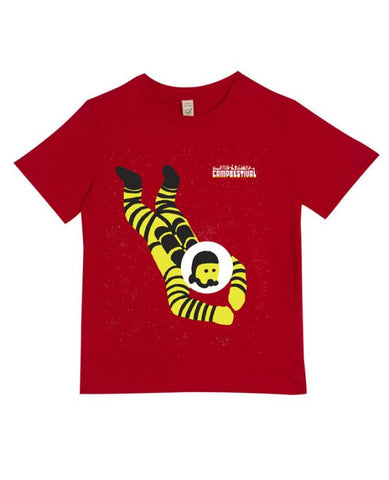 Camp Bestival 2016 'Astronaut Diving' Kids Red T Shirt