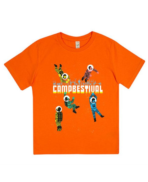 Camp Bestival 2016 'Astronaut Logo' Kids Orange T Shirt