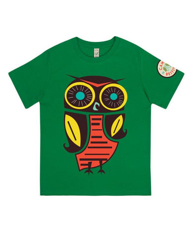 Camp Bestival 2015 'Owl Event' Irish Green Youth T Shirt