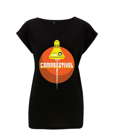 Camp Bestival 2016 (Rocket & Planet) Ladies Black T Shirt