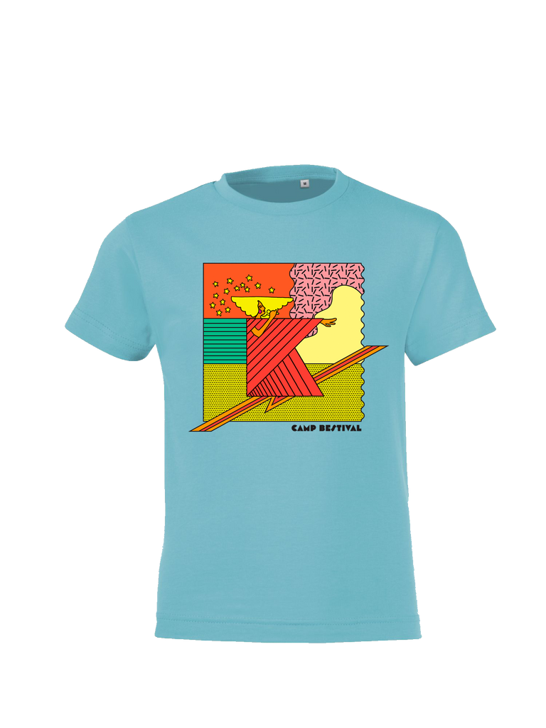 Camp Bestival 2017 'Square K' Sky Blue Kids T-Shirt