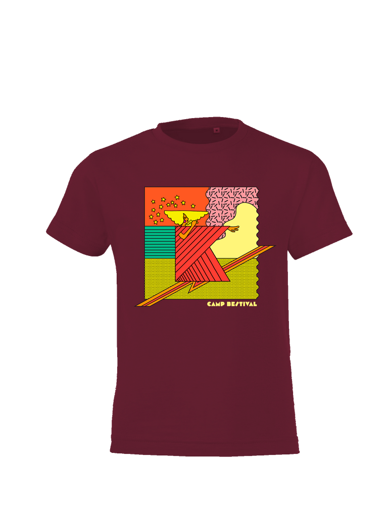 Camp Bestival 2017 'Square K' Burgundy Kids T-Shirt