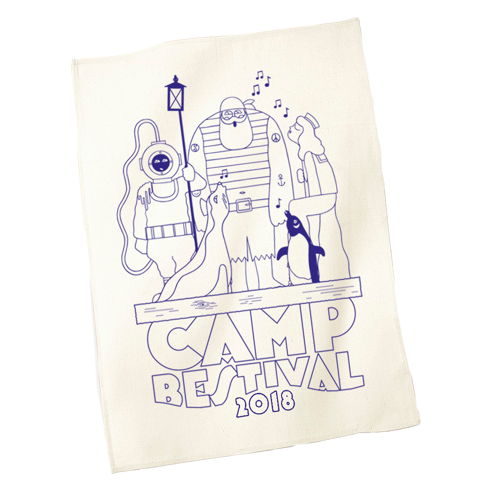 Camp Bestival 2018 'Characters' Tea Towel