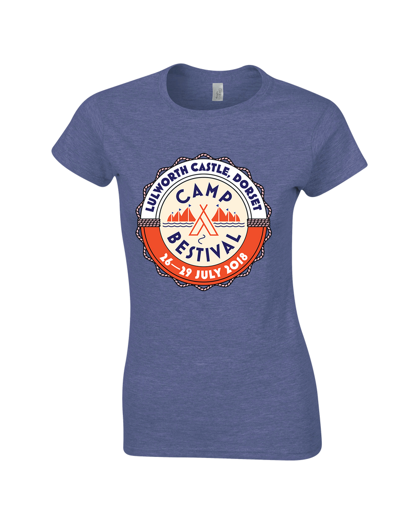 Camp Bestival 2018 'Event Logo' Heather Navy Ladies T-Shirt