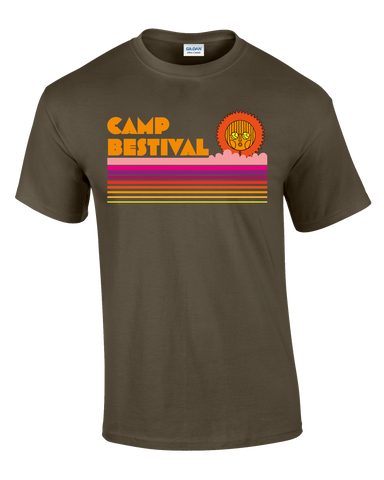 Camp Bestival 2017 'Striped Sun' Military Green T-Shirt