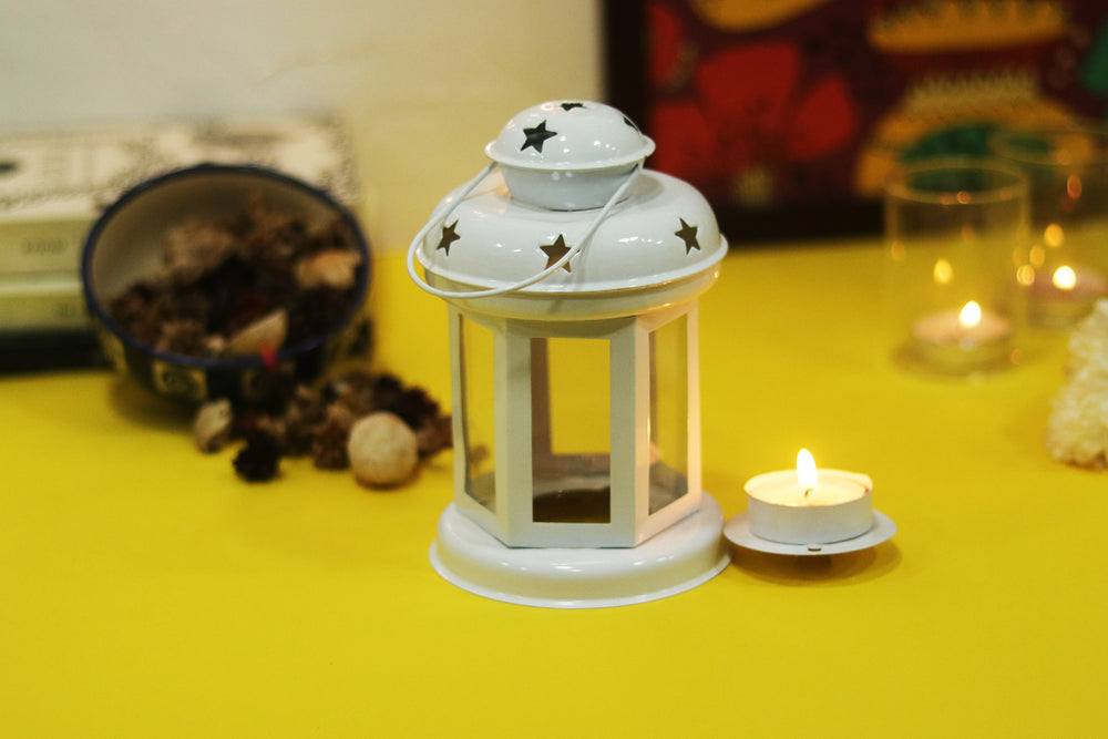 Brass and Copper Plated WHITE Tea Light Candle Holder. L2