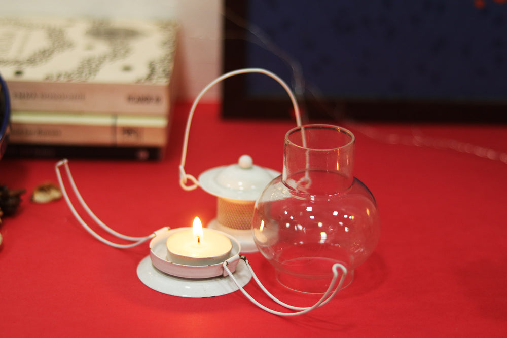 White lantern for tea light candle L6