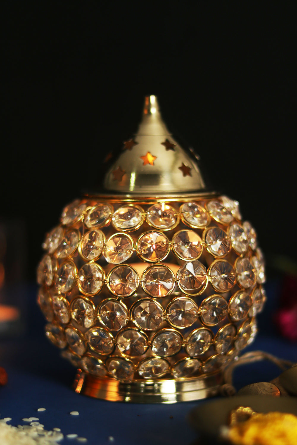 Decorative crystal Diwali Akhand Diya ( LARGE). L29