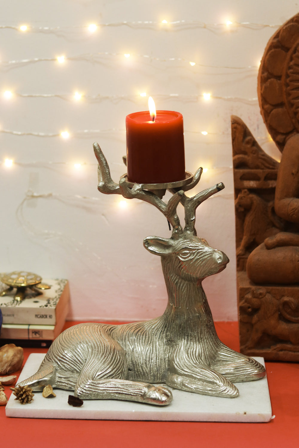 Deer thorn candle stand for a vintage living room L14