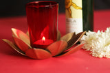 Tea light candle holder with metal lotus stand and glass L17