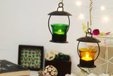 Open top green decorative lantern for tea light candle holder L19