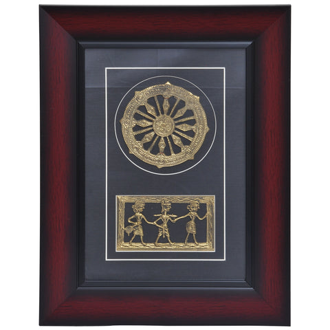 Konark Chakra and Tribal art Dhokra wall arts DWH5