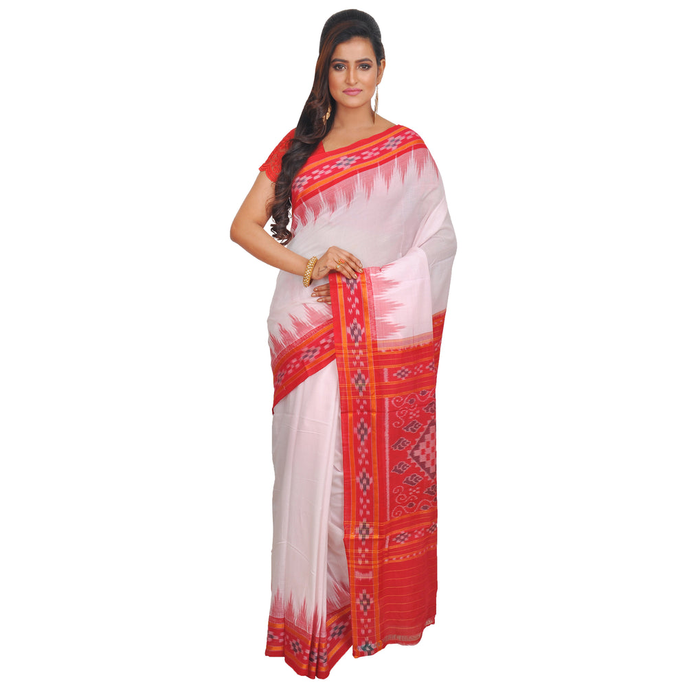 Silk Handwoven Red and White Saree S60
