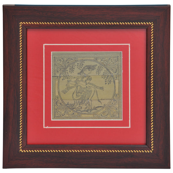 PALM LEAF  ENGRAVING KRISHNA for Wall Hanging PLWH9