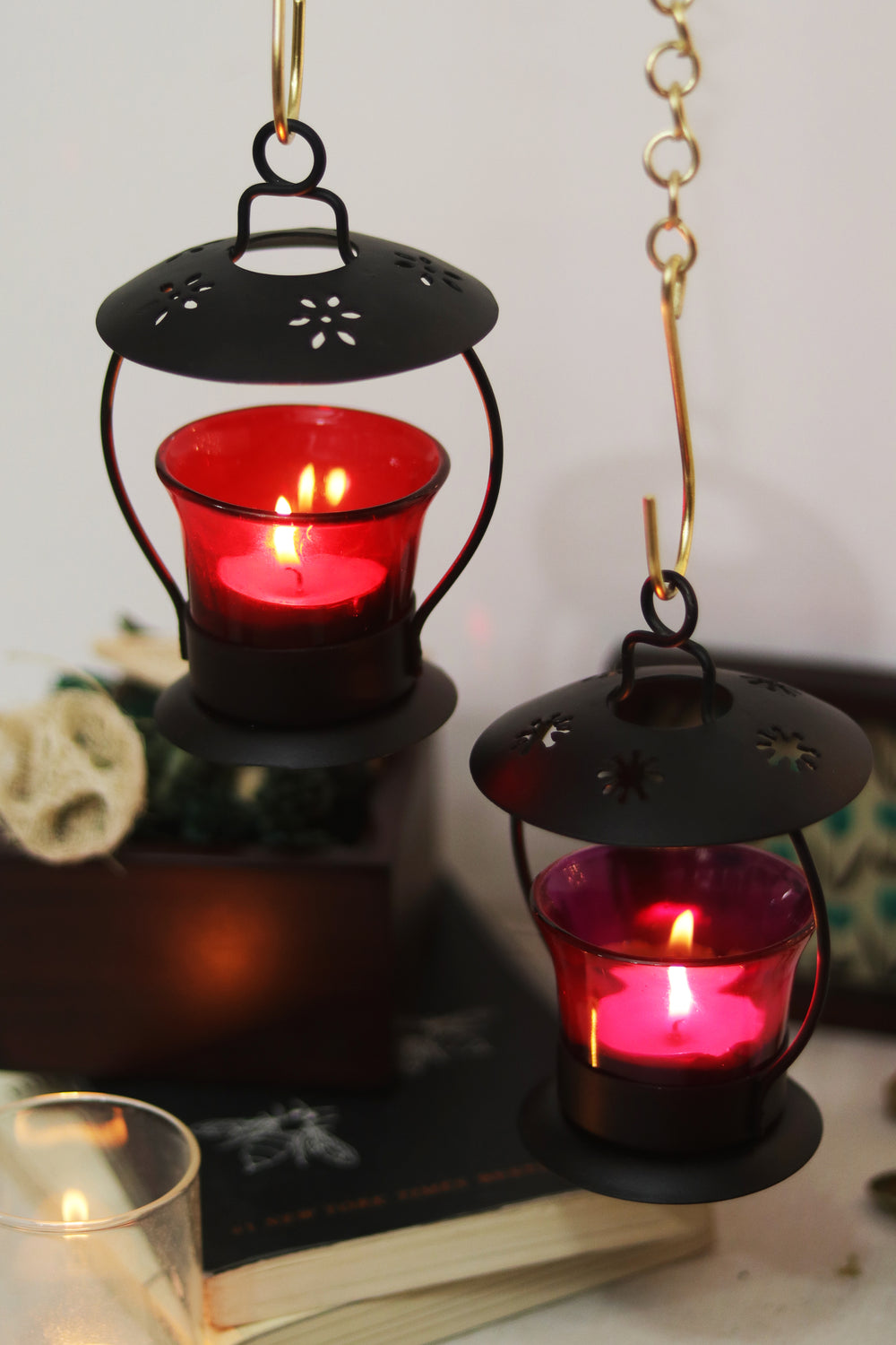 Open top pink decorative lantern for tea light candle holder L21