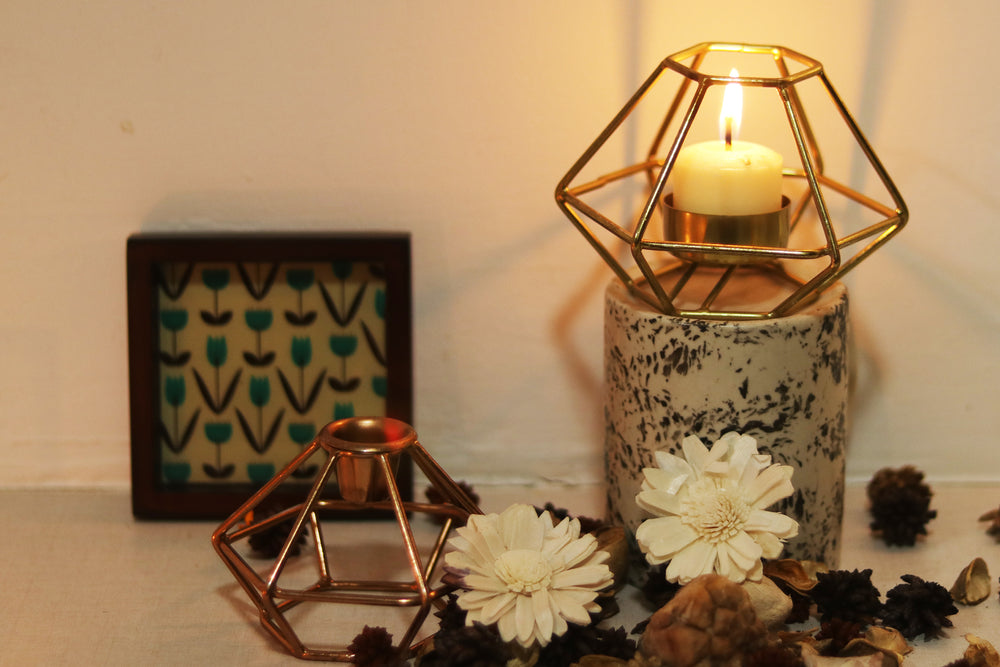 Geometrically shaped brass metal side table big candle holder. L23