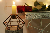 Geometrically shaped brass metal side table small candle holder. L24