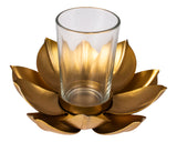Tea light candle holder with metal lotus stand and glass L78