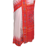 Silk Handwoven Red and White Saree S60a