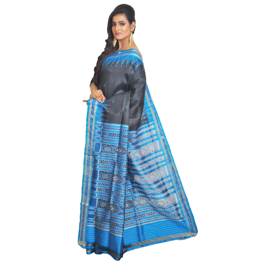 Black Sambalpuri Saree S76