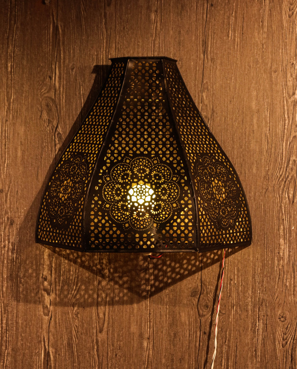 Jali work metal mesh night lamp.Goes perfectly with your Diwali decoration. L50
