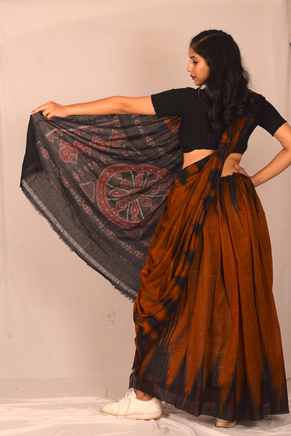 Handmade cotton saree S109