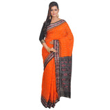 Sambalpuri Orange and black design Saree S61