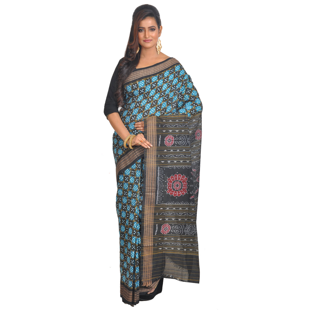 Sambalpuri green-black hues Silk Saree S68