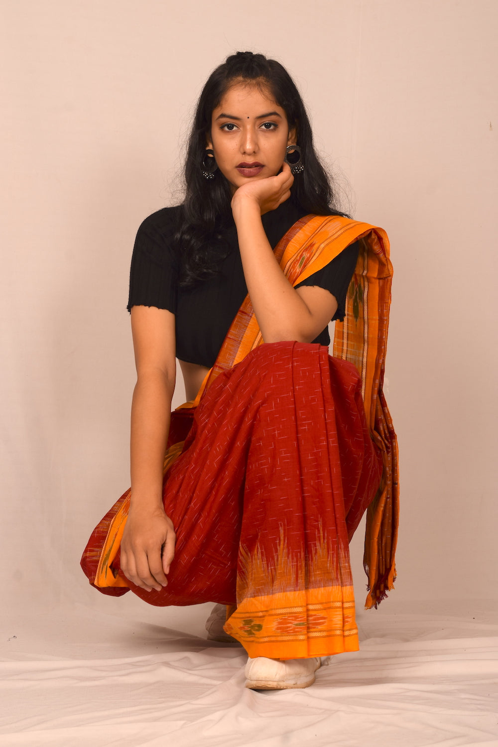 Handmade cotton saree S104