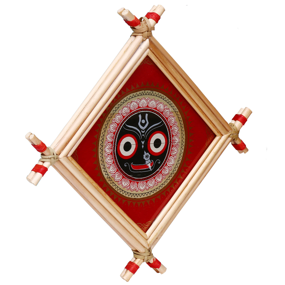 Lemon grass frame of Lord Puri jagannath on palmleaf for Wall hangings WD11