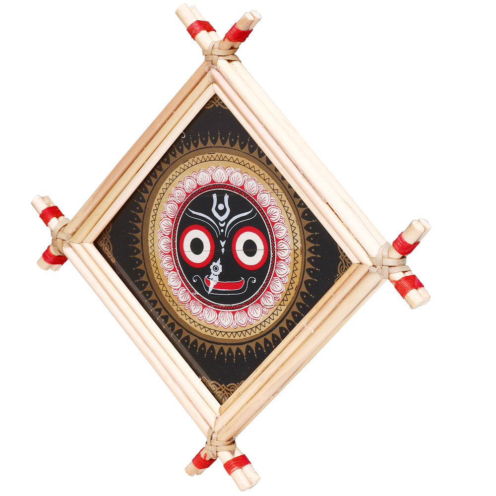Lemon grass frame of Lord Puri jagannath on palmleaf for Wall hangings WD13
