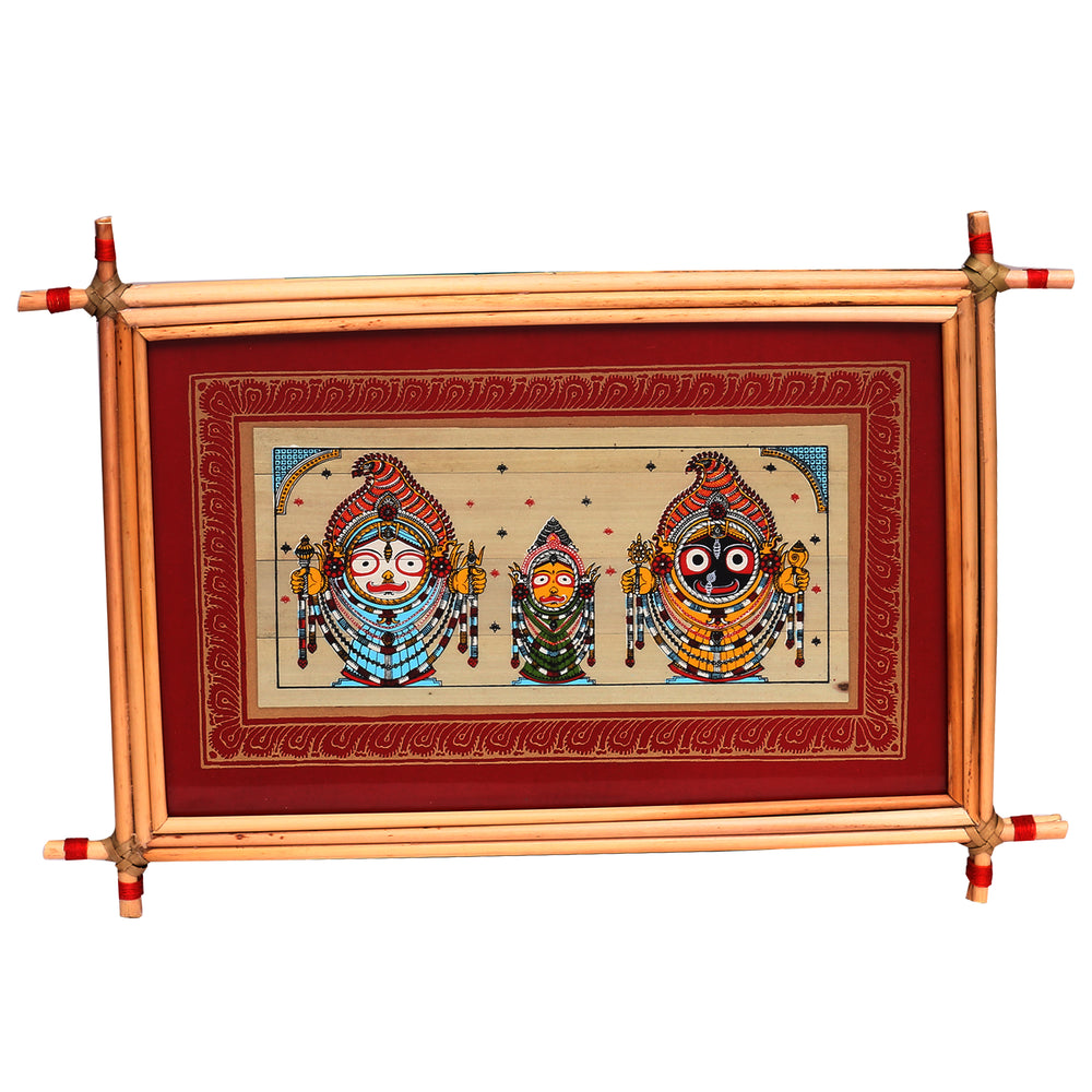 Lemon grass frame of Lord Puri jagannath on palmleaf for Wall hangings WD17
