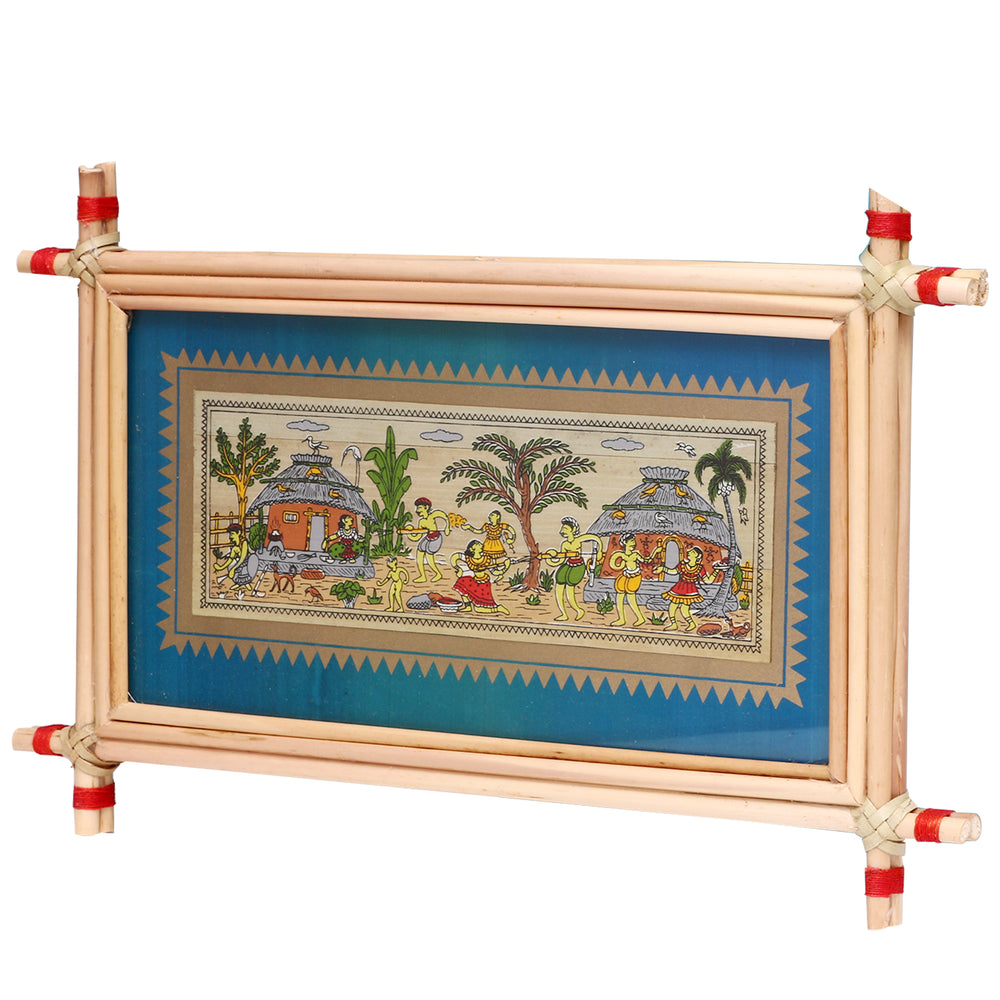 Lemon grass frame of Classic village on palm leaf for Wall hangings WD19