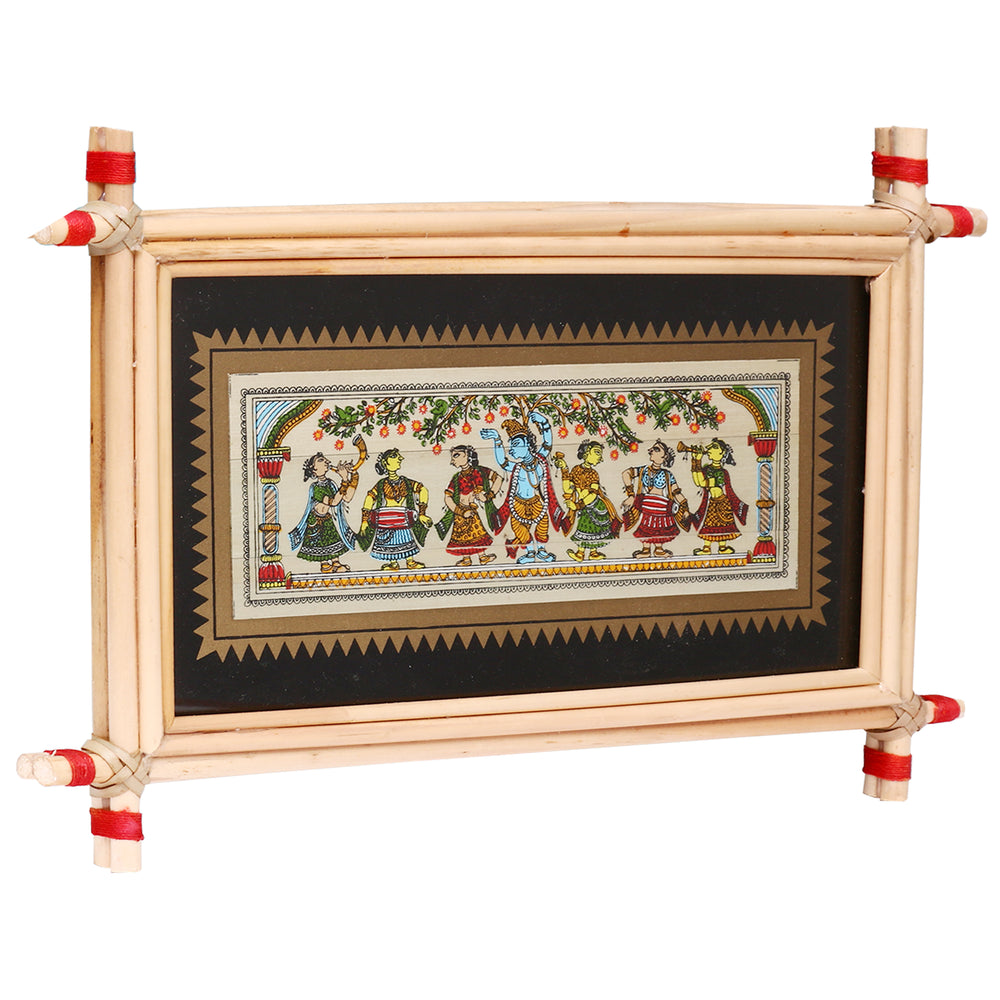 Lemon grass frame of Lord krishna on palmleaf for Wall hangings WD22