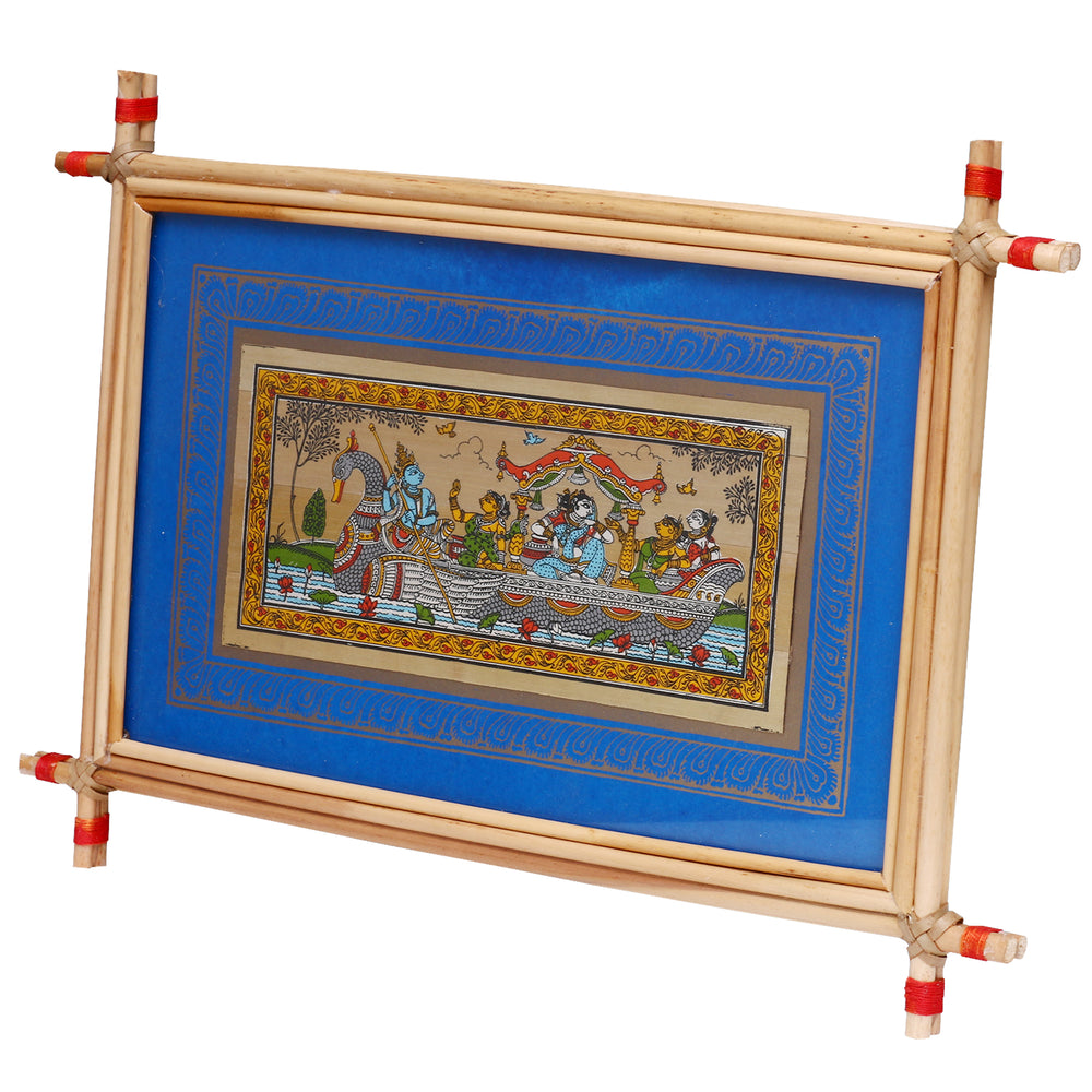 Lemon grass frame of Lord Krishna on palmleaf for Wall hangings WD23