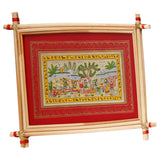 Lemon grass frame of village on palmleaf for Wall hangings WD25