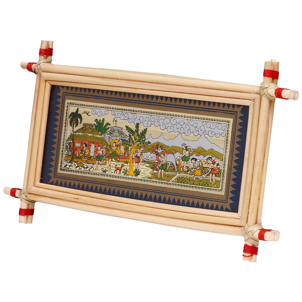 Lemon grass frame of classic village on palmleaf for Wall hangingsWD27