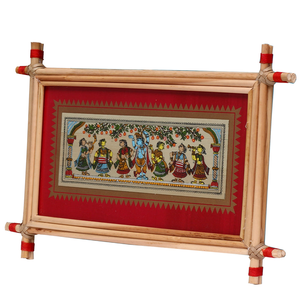 Lemon grass frame of Lord krishna on palmleaf for Wall hangings WD31