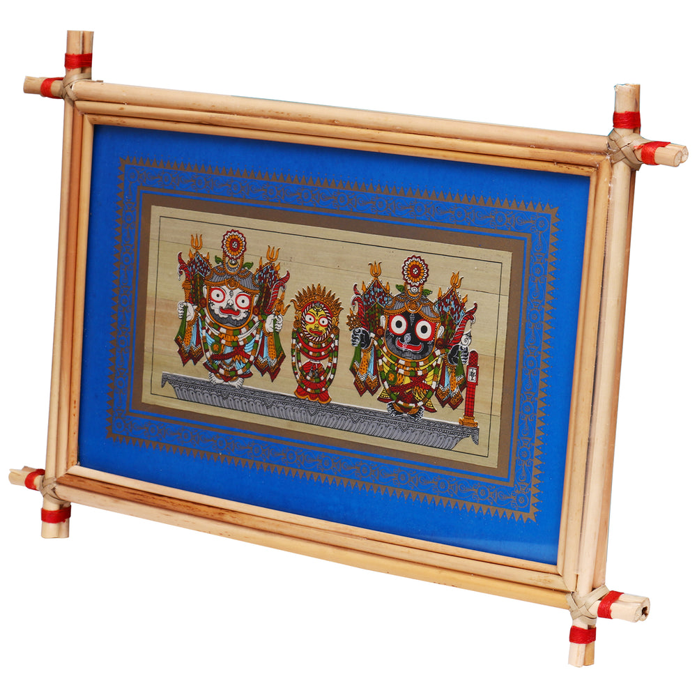 Lemon grass frame of Lord Puri jagannath on palmleaf for Wall hangings WD33