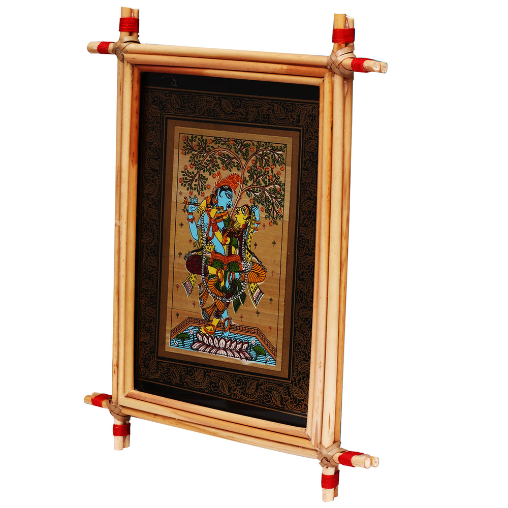 Lemon grass frame of Lord krishna on palmleaf for Wall hangingsWD37